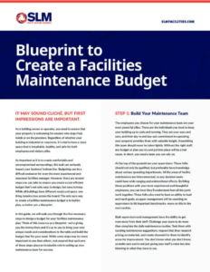 Page 1 Blueprint to Create Facilities Maintenance Budget Cover